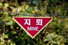 Landmijnwaarschuwingsbord Stock Fotografie