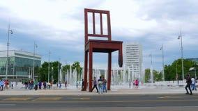 Landmines symbol, broken chair monument, geneva, switzerland stock footage