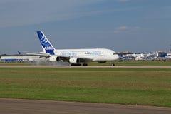 Landning A380 Arkivfoto