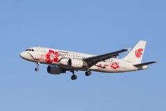 Landning för Air China B-6610 flygbuss A-320-200 på BCIA, Peking, Kina Royaltyfria Foton