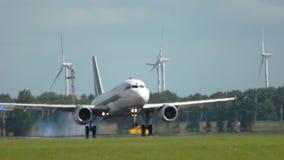 Landning för flygbuss A319 lager videofilmer