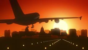 Landning för Madison Wisconsin USA Amerika horisontsoluppgång royaltyfria foton