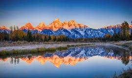 Landning för Schwabacher ` s, storslagen Teton nationalpark fotografering för bildbyråer