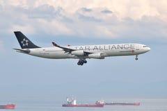 Landning för Turkish Airlines flygbuss A340 på den Istanbul Ataturk flygplatsen Arkivbild
