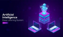 Landningdesign för konstgjord intelligens (AI) med illustrationen 3D royaltyfri illustrationer