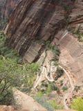 Landningen för ängel` som s fotvandrar banan, Zion National Park, Utah Arkivbild