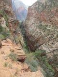 Landningen för ängel` som s fotvandrar banan, Zion National Park, Utah Fotografering för Bildbyråer