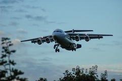 Landningflygplan Arkivbild