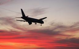 landningsolnedgång Arkivfoton