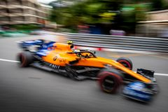 #4 Lando NORRIS GBR, McLaren-Renault, MCL34 in a blur royalty free stock photos
