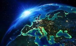 Landområde i Europa natten Arkivbilder
