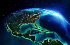 Landområde i Nordamerika natten Fotografering för Bildbyråer