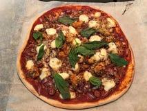 Landpizza mit Huhn, Würste und Käse jagend stockfotos