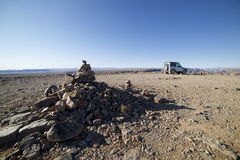Landrover in desert. Landrover Defender at Fish River Canyon in Namibia royalty free stock photography