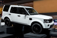Landrover at the Geneva Motor show. Modern white Landrover pictured at the Geneva Motor Show in Swizterland, 2014 Stock Image
