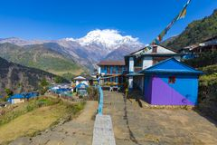 Landruk village seen on the way to Annapurna base camp royalty free stock image