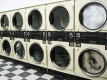 Landry Mat Machines. Coin operated laundry machines in a local area Stock Photos