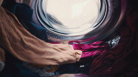 Landry is spinning in the washing machine (inside view)