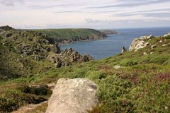 Lands End. Looking towards lands end in cornwall Uk stock photos