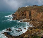 Lands End. Cliffs at Lands End in Cornwall England royalty free stock images