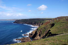 Lands End. Cliffs looking out onto the Atlantic sea, Cornwall, UK royalty free stock image