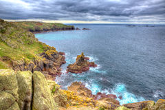 Lands End coast from Sennen Cove Cornwall England UK in HDR Stock Photo