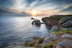 Lands End in Cornwall. The cliffs and sea arch at Land's End in Cornwall stock photo