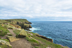 Lands end Cornwall coastline cliffs Royalty Free Stock Image