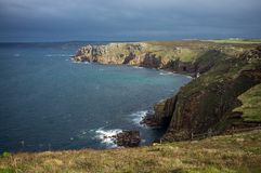 Lands End Cornwall. Stormy weather at Lands End Cornwall royalty free stock photography