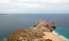 Lands End and Divorce Beach as seen from top of Mt Solmar in Cabo San Lucas Baja Mexico. BCS stock photos