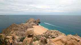 Lands End and Divorce Beach as seen from top of Mt Solmar in Cabo San Lucas Baja Mexico. BCS stock photo