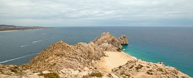Lands End and Divorce Beach as seen from top of Mt Solmar in Cabo San Lucas Baja Mexico. BCS royalty free stock image