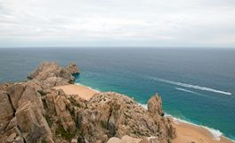 Lands End and Divorce Beach as seen from top of Mt Solmar in Cabo San Lucas Baja Mexico. BCS royalty free stock photos