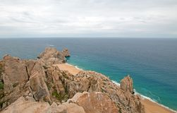 Lands End and Divorce Beach as seen from top of Mt Solmar in Cabo San Lucas Baja Mexico. BCS royalty free stock images
