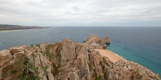 Lands End and Divorce Beach as seen from top of Mt Solmar in Cabo San Lucas Baja Mexico. BCS royalty free stock photo
