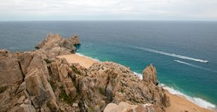 Lands End and Divorce Beach as seen from top of Mt Solmar in Cabo San Lucas Baja Mexico. BCS stock image