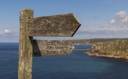 Sign Post of Coast Path Cornwall Royalty Free Stock Photo