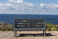 Lands End Last First Benche. Last/first bench at  Lands` End in summer with blue sky and ocean Stock Photography