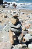 Stack of stones at beach. Lands End, San Francisco, United States: ‎March ‎24, ‎2018 - A heart in the rock Stock Image