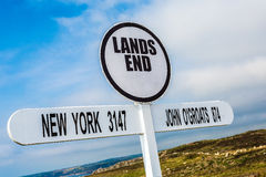 Lands End. The Lands End sign in Cornwall, England royalty free stock photos