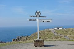 Lands End Signpost, Cornwall. Royalty Free Stock Photos