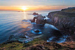 Lands End Sunset Cornwall Stock Images
