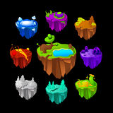 Lands For Game Icons Set. Colorful hanging lands for game icons set with different surface on black background isolated vector illstration Stock Images