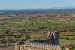 The lands of Trujillo. The fields outside the beautiful castle of Trujillo in Spain: crops, mountains and the skyline Stock Images