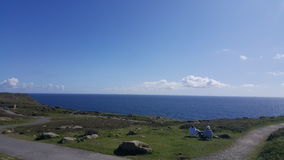 Lands End England. Sea blue sky nice view incredible place stock photography