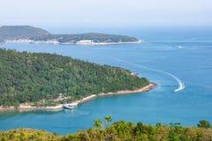 Landsacpe e linea costiera in Sai Kung fotografia stock