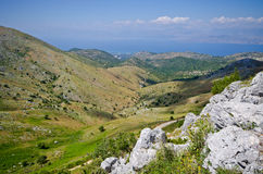 Landsacpe from the mountain, Corfu island, Greece Royalty Free Stock Photo
