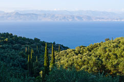 Landsacpe from the mountain, Corfu island, Greece Royalty Free Stock Photography