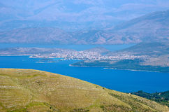 Landsacpe from the mountain, Corfu island, Greece Royalty Free Stock Image