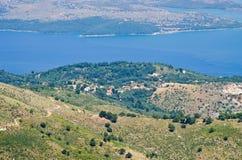Landsacpe from the mountain, Corfu island, Greece Royalty Free Stock Photography